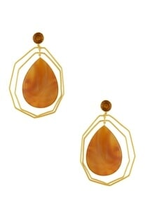 Gold plated calcedony & bear quartz earrings