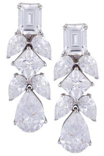 Silver marquise & princess cut swarovski gemstone earrings