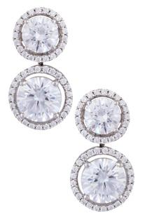 Silver sterling silver round cut swarovski earrings