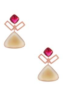 Rose gold plated quartz earrings