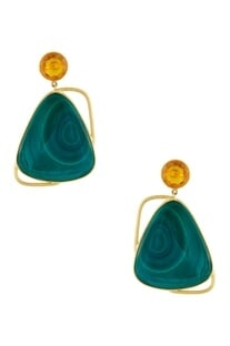 Gold plated malachite earrings