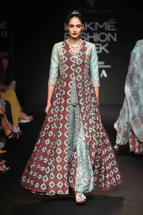 Front open long kallidar dress with pants