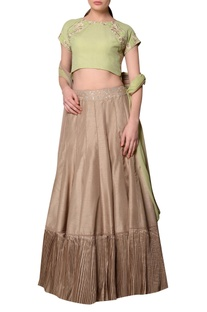 Green embroidered blouse with silk lehenga