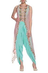 Sky blue jumpsuit with pink embellished cape