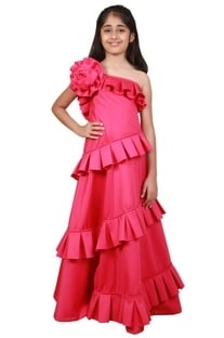Pink poly foma floral embellished floor-length gown