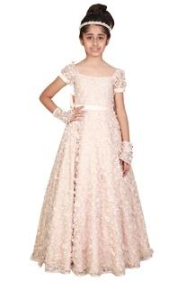 Beige chantilly net floral work princess gown