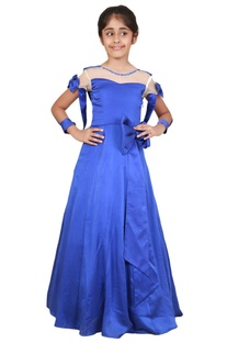 Blue satin bow detailed princess gown
