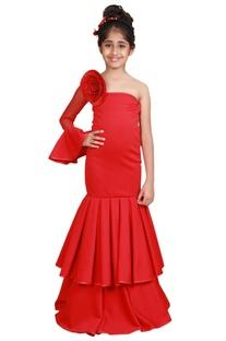 Red floral embellished floor-length gown