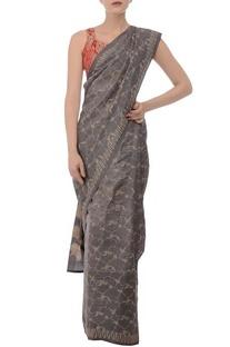 Soft grey printed tussar silk sari