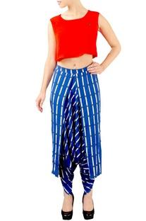 Red & blue dhoti pants set