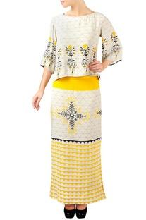 Off-white & yellow floral print skirt set