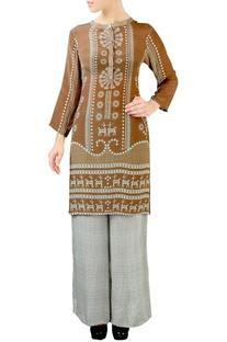 Brown & grey geometric print kurta set