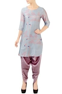 Grey & pink printed kurta set