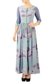 Purple flamingo print maxi dress