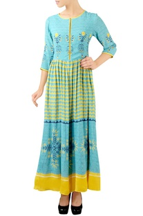 Turquoise & yellow printed maxi dress