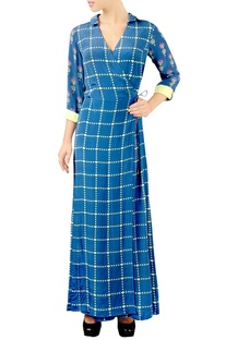 Blue chequered jumpsuit
