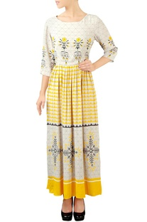 White & yellow floral maxi dress