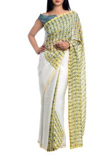 Yellow & white italian stretch geometric block printed saree