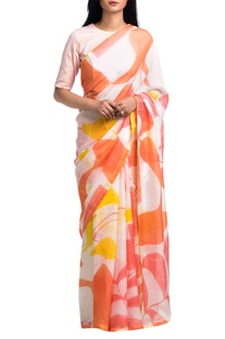 Off-white & orange brush painted floral abstract saree