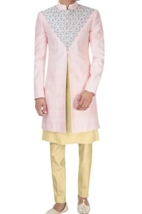 Pink & cream embroidered sherwani set
