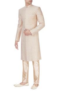 Peach & beige embroidered sherwani set