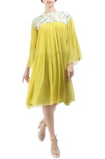 Yellow georgette tiered pitambari dress