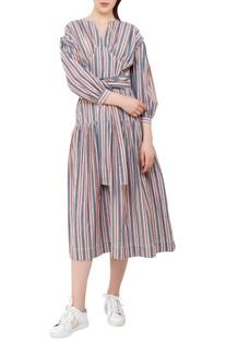 Stripe pattern midi dress