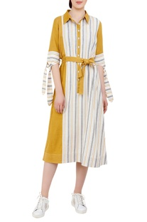 Shirt dress with tie up sleeves