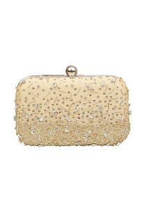 Beige sequin embellished box clutch