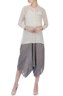 Ecru organic handwoven cotton blouse and dhoti pants
