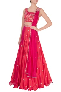 Fuchsia orange zircon embroidered lehenga