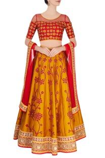 Red & yellow embroidered lehenga