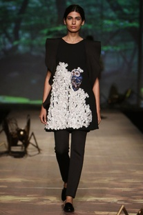 Black owl applique ruffled dress with trousers