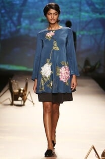 Teal hydrangea applique blouse with skirt
