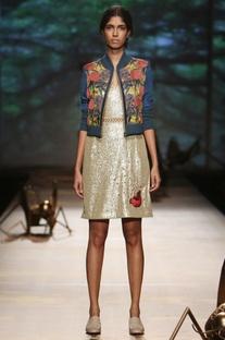Gold sequined applique dress
