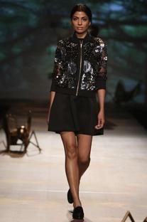 Black net sequined bomber jacket