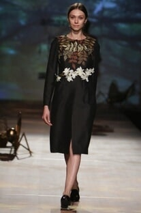 Black foliage embroidered coat