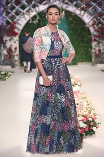 Midnight blue floral embroidered gown & bolero
