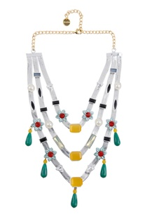 Layered floral necklace with multiple pendants