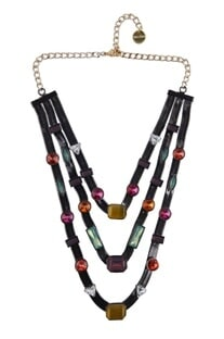 Multicolored layered candy necklace