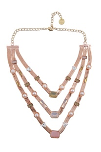 Pearl and stone encrusted layered necklace