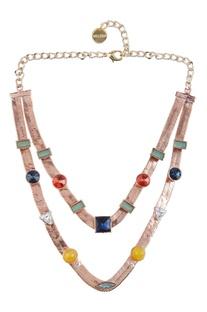 Dual layered necklace with embellished stonework
