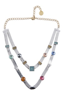 Multicolored embellished layered necklace