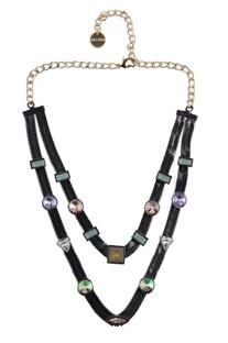 Gunmetal embellished double layered necklace