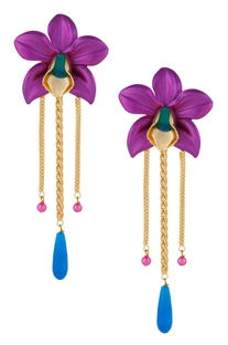 Oversized floral orchid shape earrings