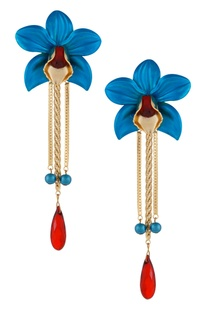 Turquoise floral drop earrings