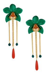 Dual color floral drop earrings