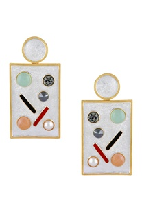 Stone age geometric earrings