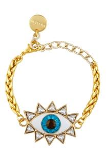 Statement bracelet with evil eye pendant