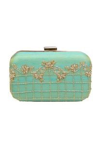 Blue embroidered box clutch